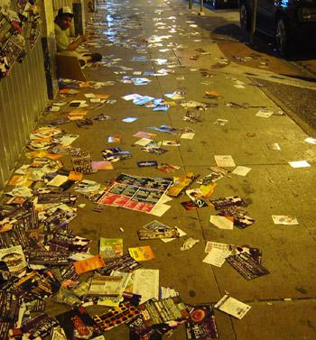 flyers on street