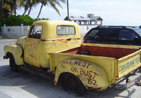 An old truck that hasn't left Key West since its arrival in 1962
