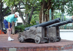 A canon in the center of Key West, Florida