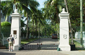 Gated entrance to the Truman Little White in Key West, FL House