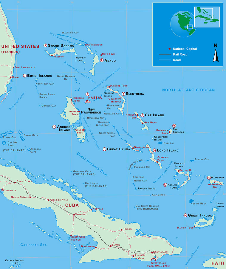 Bahamas Map - Miami Beach 411 - Map of the Islands in Bahamas